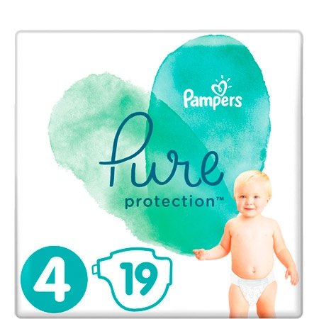 Pampers Pure Protection Nappies size 4 (9-14 kg) - 19 pieces
