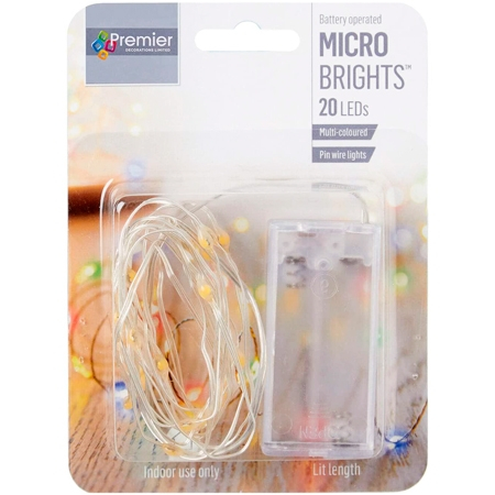 Premier 20 LED Battery Operated Multicolored Light Chain - 1,9 Meter
