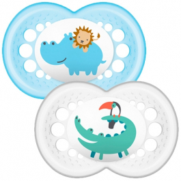 MAM Nature 6+ months Pacifier 2 items - Blue & White