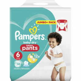 Pampers Baby Dry Nappies Size 6 - 58 pack