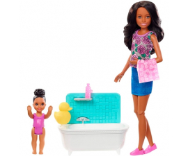 Barbie Skipper Babysitter Play Set - Child og Bathtub