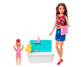 Barbie Skipper Babysitter Play Set - Child & Bathtub