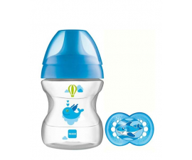 MAM 190ml Feeding Bottle with teet – learn to Drink Cup 6+ months -Blue