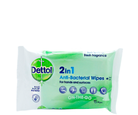 Dettol 2i1 Anti-Bacterial Wipes - 15 pcs