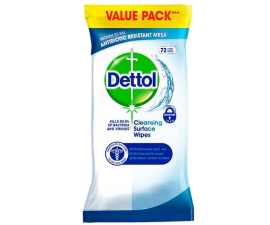 Dettol Antibacterial Cleaning Wipes Large - 72 Pieces