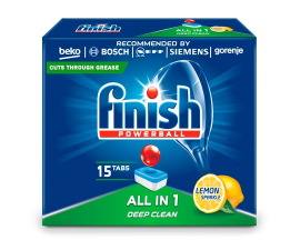 Finish Powerball All in 1 Lemon Washing Up Tablets - 15 pieces