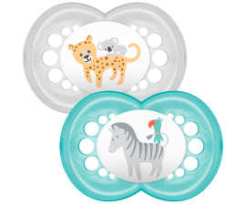MAM Nature 6+ months Pacifier 2 stk - Blue & Silver