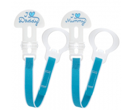 MAM pacifier Holder - 2 pack - White/Blue