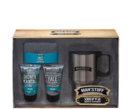 Man Stuff Scrub Up  N  Go Gift Set