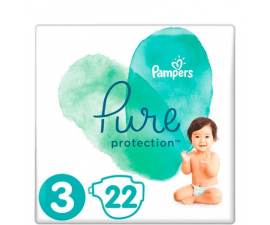Pampers Pure Protection Nappies ssize 3 (6-10 kg) - 22 pieces