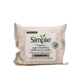 Simple Age Resisting Cleansing Wipes - 25 Pieces
