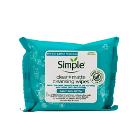 Simple Daily Skin Detox Clear + Matte Cleansing Wipes - 25 Pieces